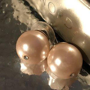 Pink pearl crystal round  Betsey Johnson earrings